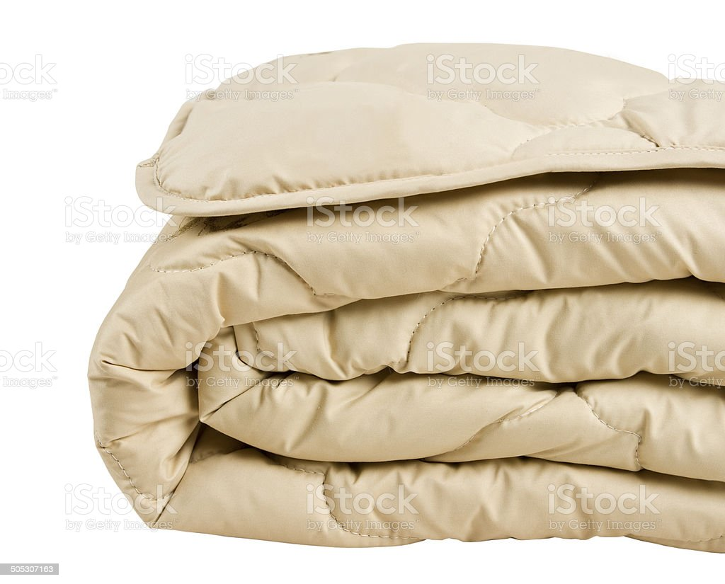 part of beige blanket isolated on white background stock photo