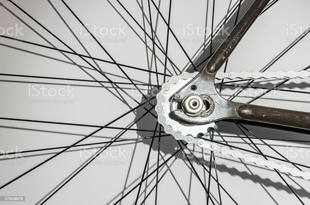 Part of bicycle, wheel part with chain and wire stock photo