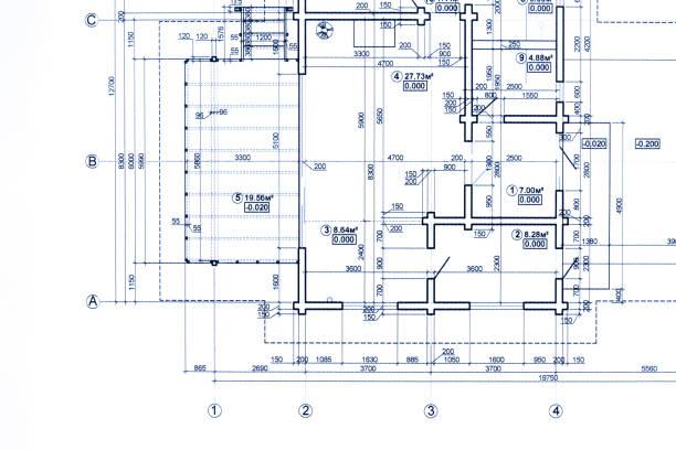 een deel van de plattegrond van de blauwdruk. architectonische tekeningen achtergrond. foto