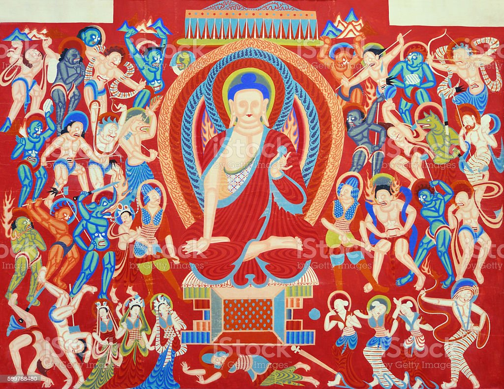 Part of Chinese Dunhuang Buddhist Mural stock photo