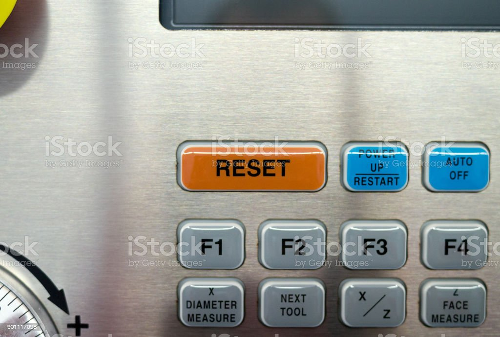 Part of CNC machine keyboard. The RESET button. stock photo