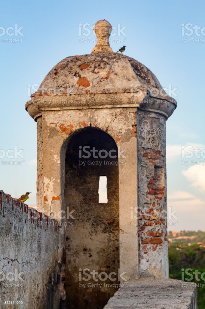 Part of Colonial wall in Cartagena stock photo