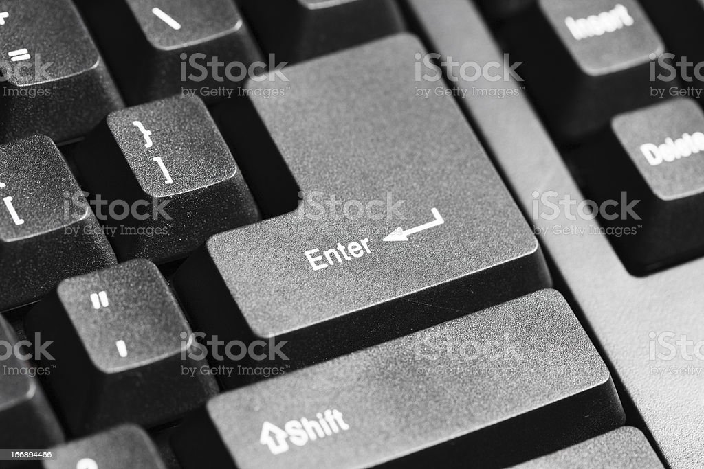 Part of computer keyboard, centered on Enter key royalty-free stock photo