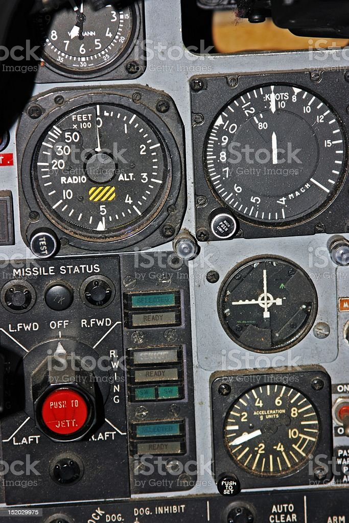 Part of Control Panel for Fighter Aircraft stock photo