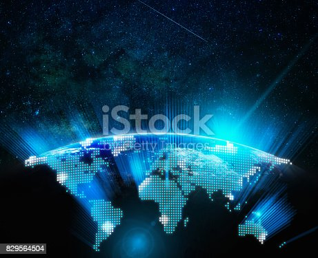 istock Part of digital earth with sun rise and lens flare over the Milky Way background, Internet Network concept, Elements of this image furnished by NASA 829564504