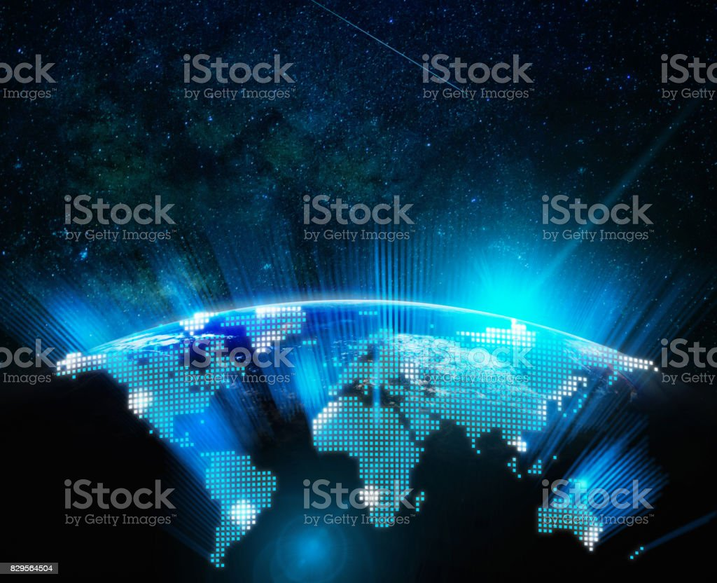Part of digital earth with sun rise and lens flare over the Milky Way background, Internet Network concept, Elements of this image furnished by NASA stock photo