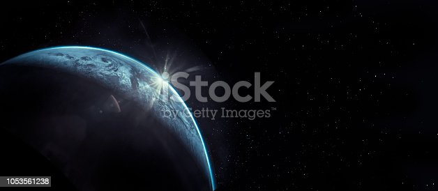 istock Part of earth with sun rise and lens flare background, Internet Network concept, Elements of this image furnished by NASA. 1053561238