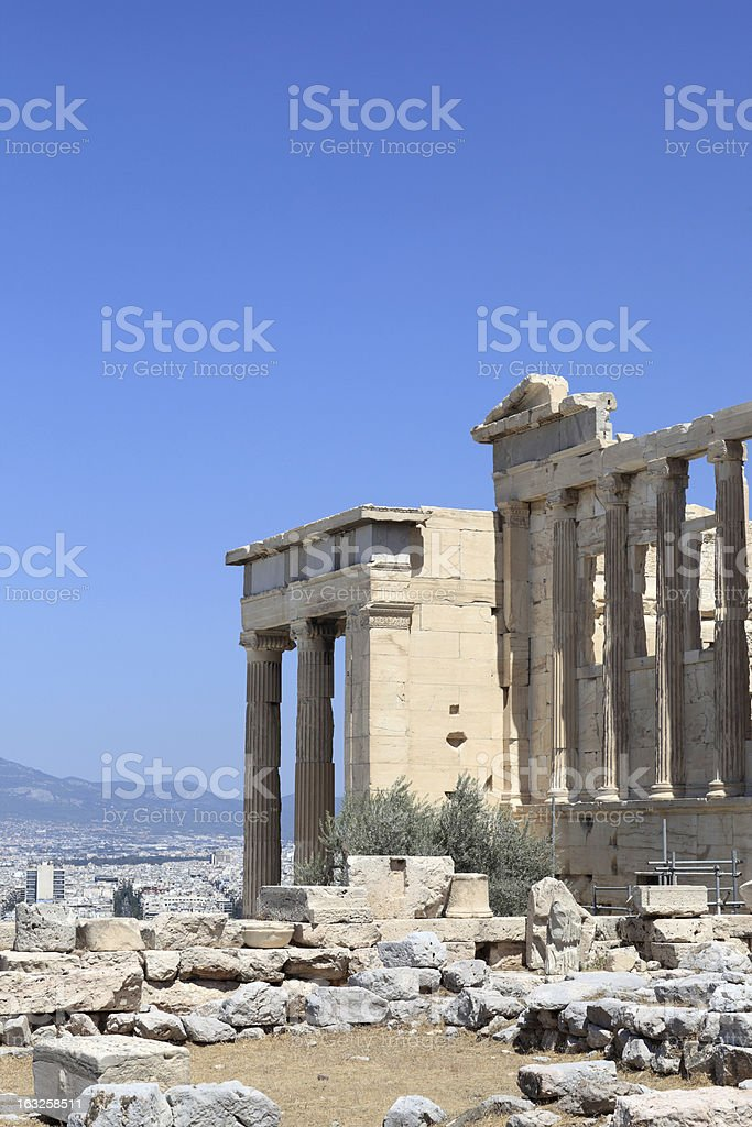 Part of Erechtheum ancient temple royalty-free stock photo