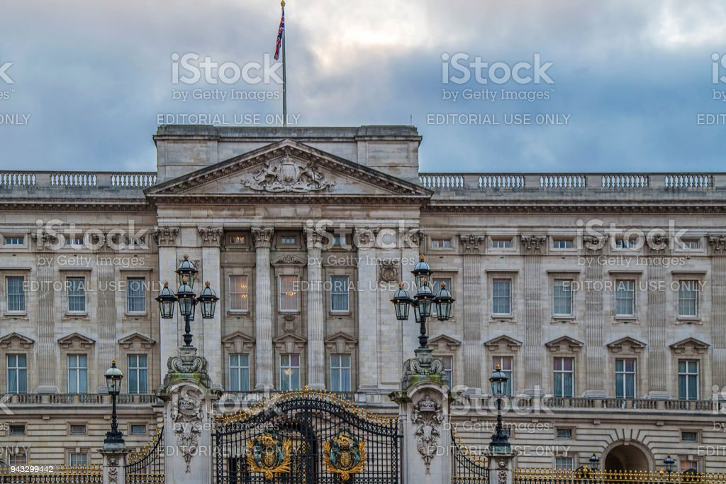 Part of facade of Buckingham Palace stock photo