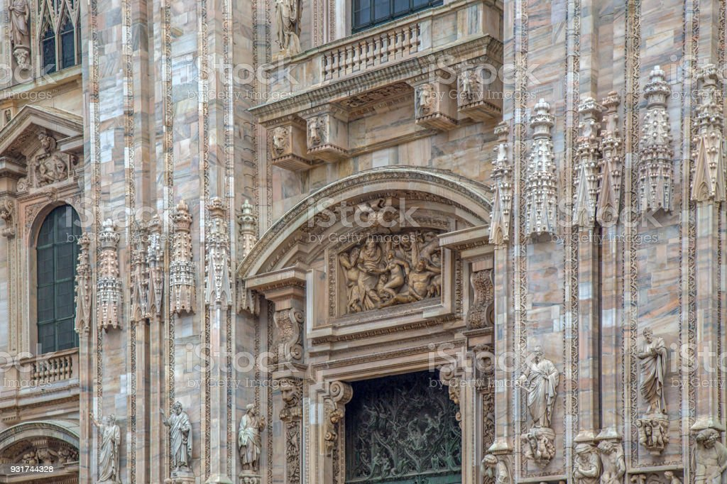Part of facade with details of the Milan Cathedral stock photo