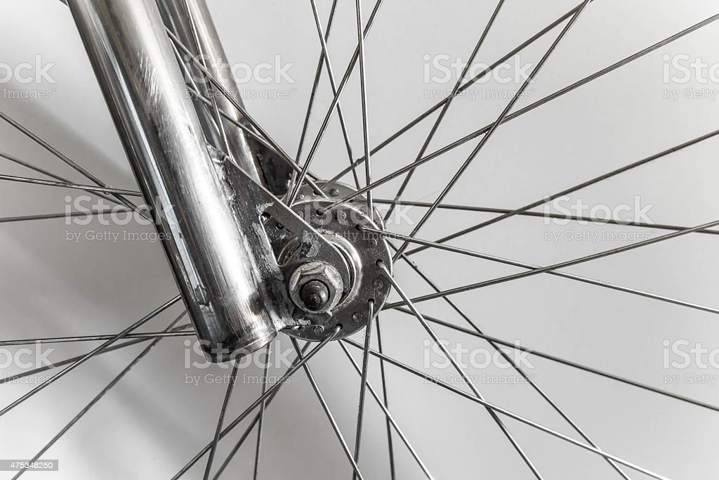Part of fixed gear bicycle, wheel with wire part stock photo