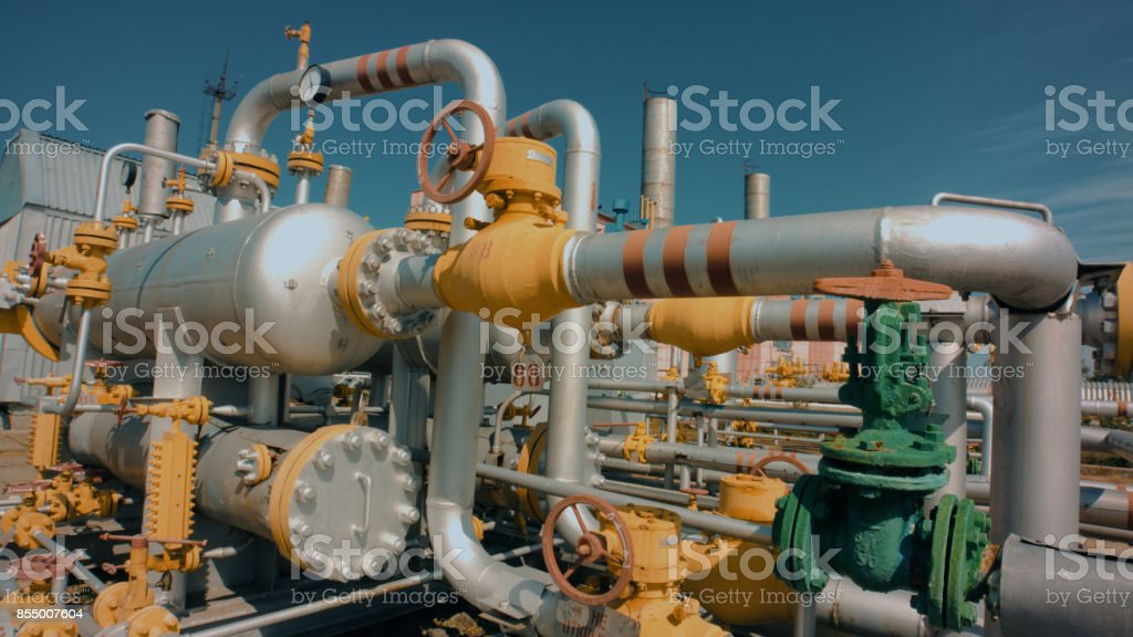 Part of Gas refining plant stock photo