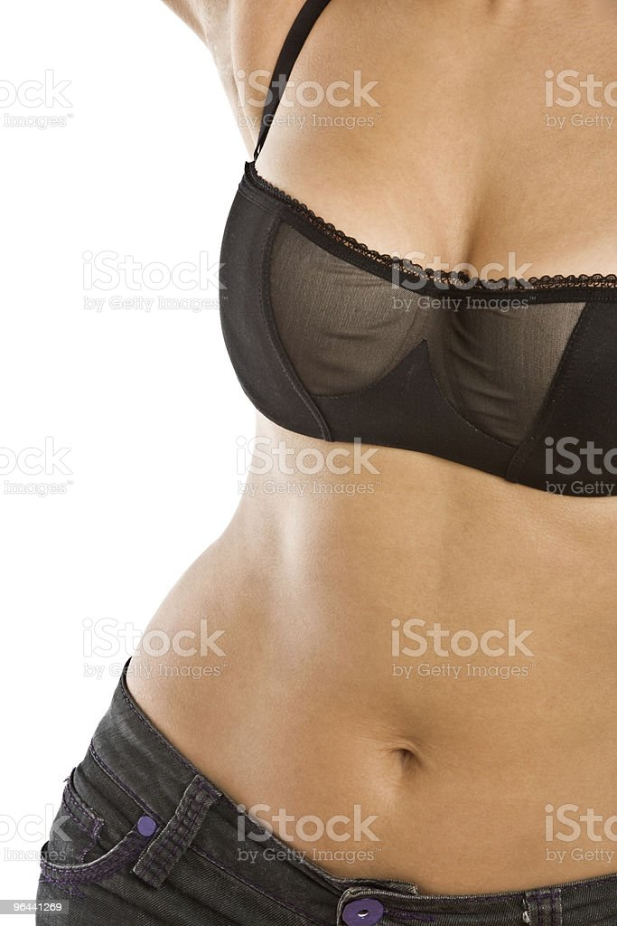 Part of health woman body in black lingerie and jeans. - Royalty-free Adult Stock Photo