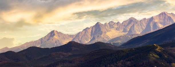 part of High Tarta mountain ridge at sunset stock photo