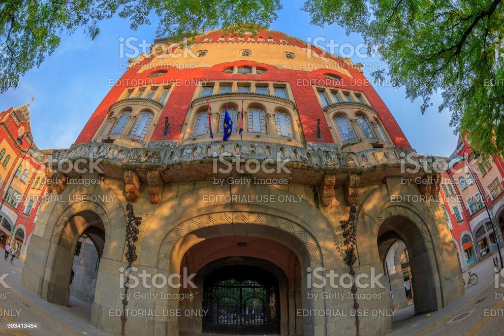 Część zabytkowego budynku ratusza w Subotica, Serbia - Zbiór zdjęć royalty-free (Architekt)