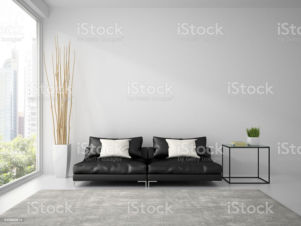Part of  interior with black sofa and white pillows 3D stock photo