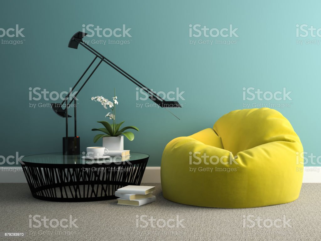 Part of interior with yellow beanbag 3d rendering stock photo
