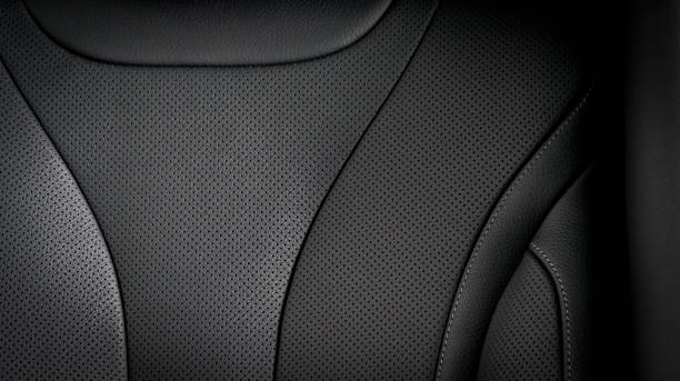 part of  leather car seat details - car interior stock photos and pictures