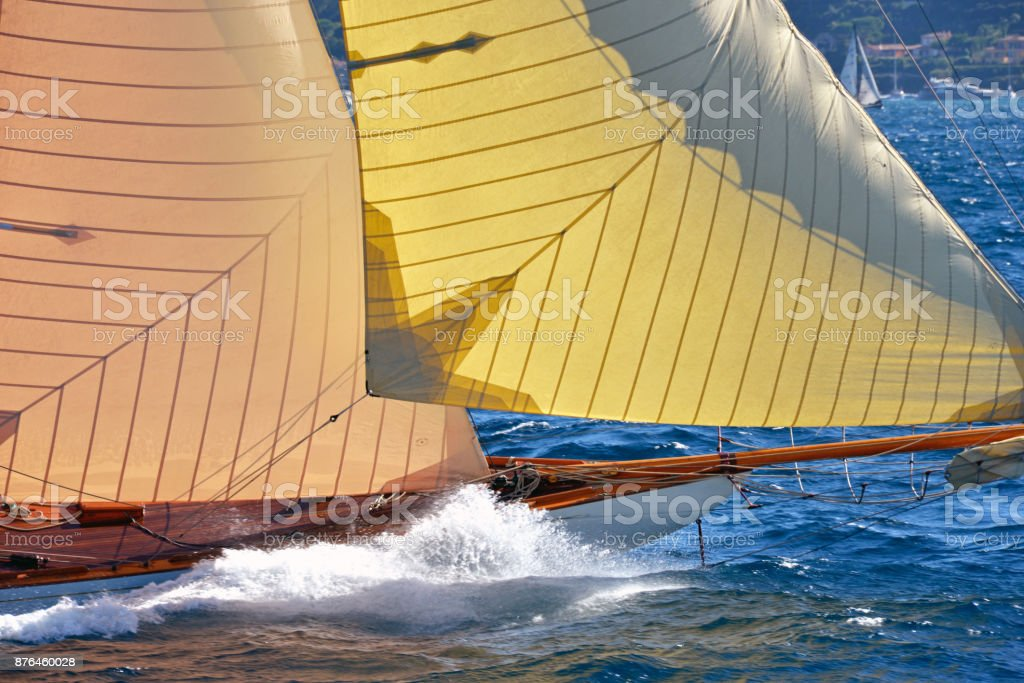 Part of luxury sailing boat. Sailing ships yachts in the open sea....