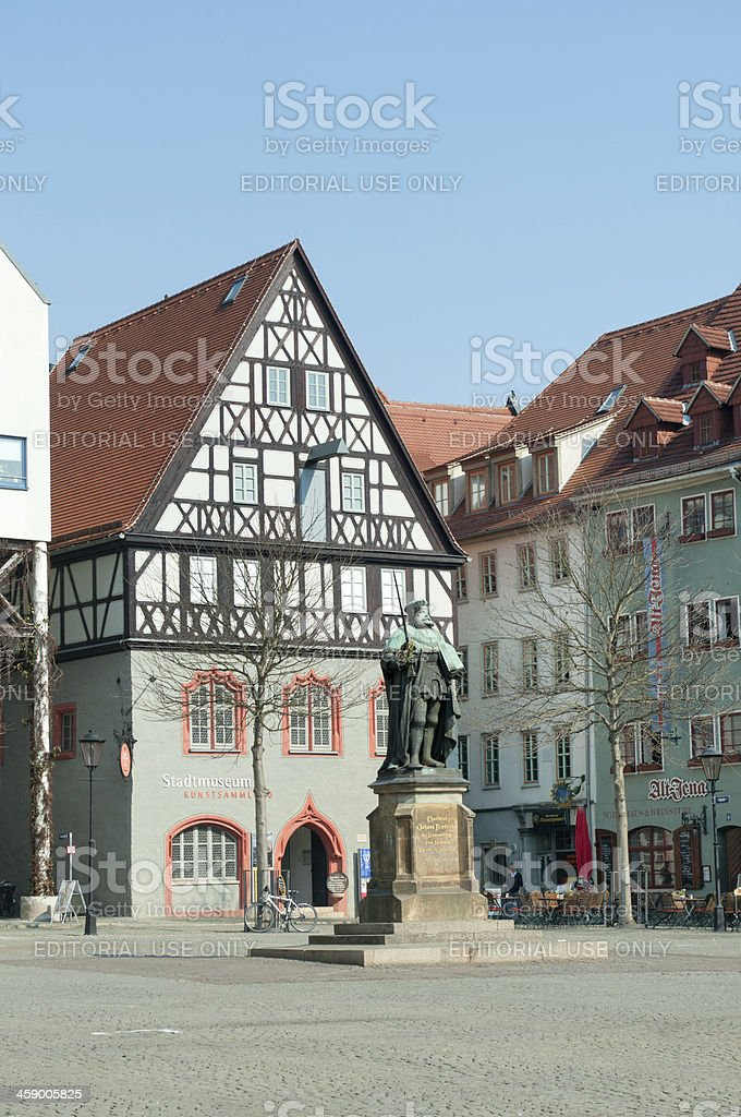 part of market place in Jena Germany stock photo