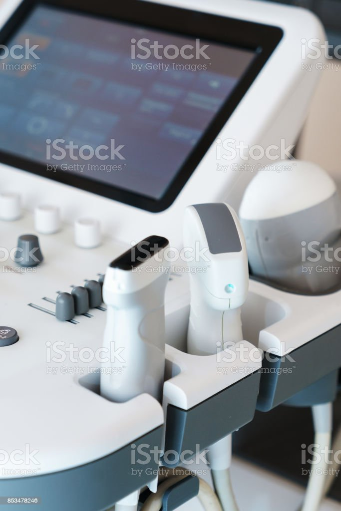 part of medical ultrasonograhy machine in hospital stock photo