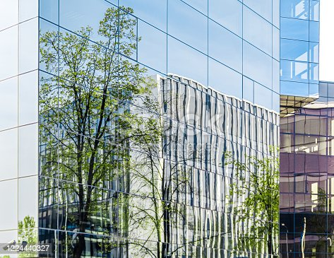 Part of modern corporate buildings from glass with reflections of green trees. Green building concept.