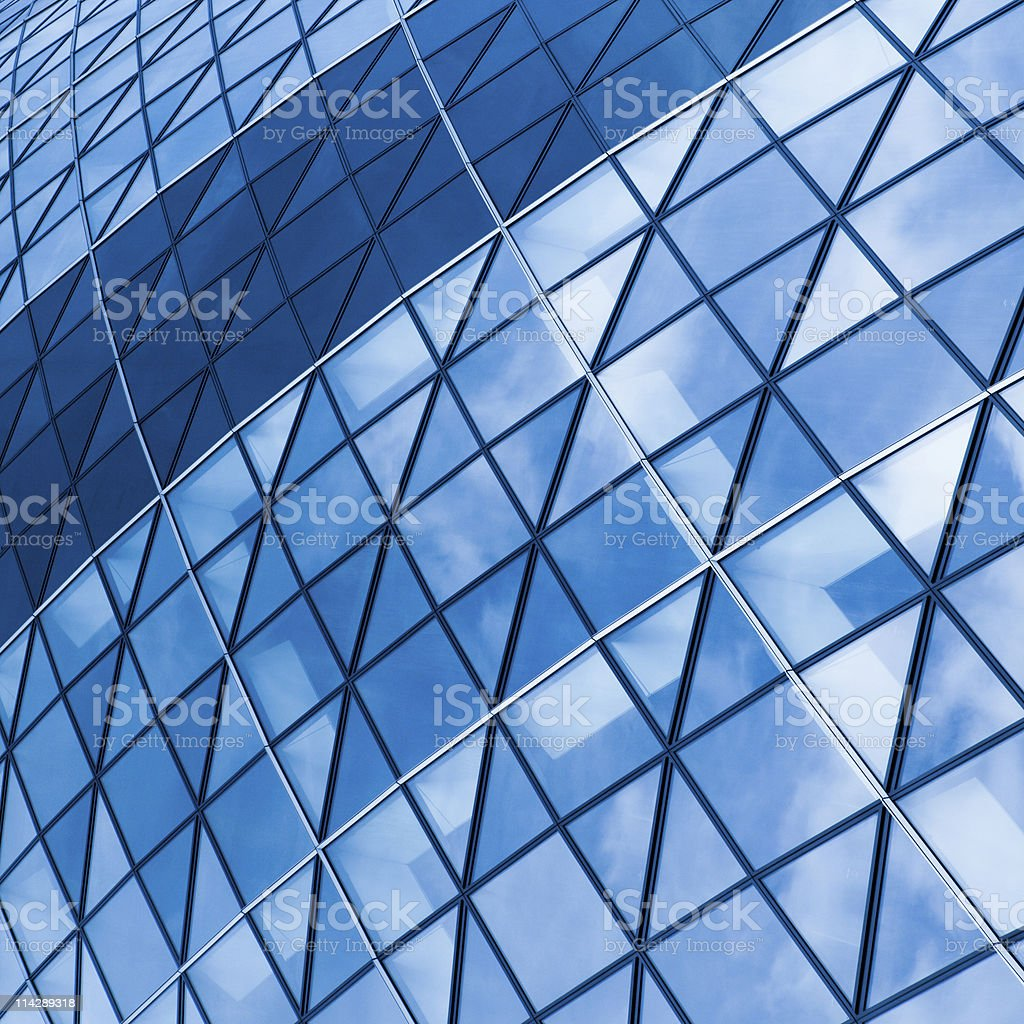 Part of modern glass wall building, mesh pattern stock photo