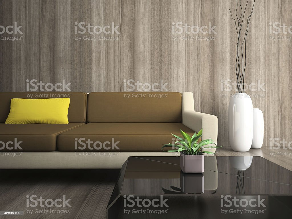 Part of modern interior with yellow pillow royalty-free stock photo