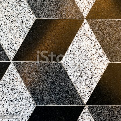 istock Part of mosaic rhombus ceramic floor tiles, background, texture 917426468