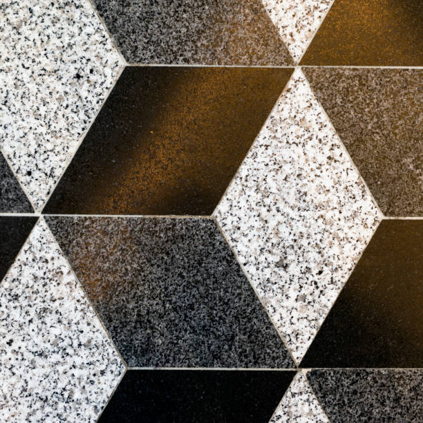 Part of mosaic rhombus ceramic floor tiles, background, texture stock photo