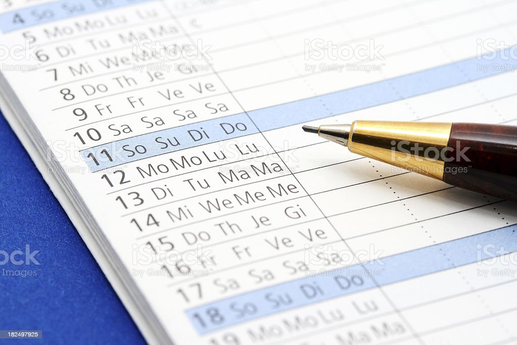 Part of Multilingual Calender royalty-free stock photo