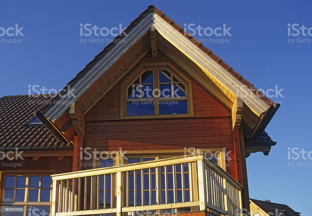 Part of new wooden house stock photo