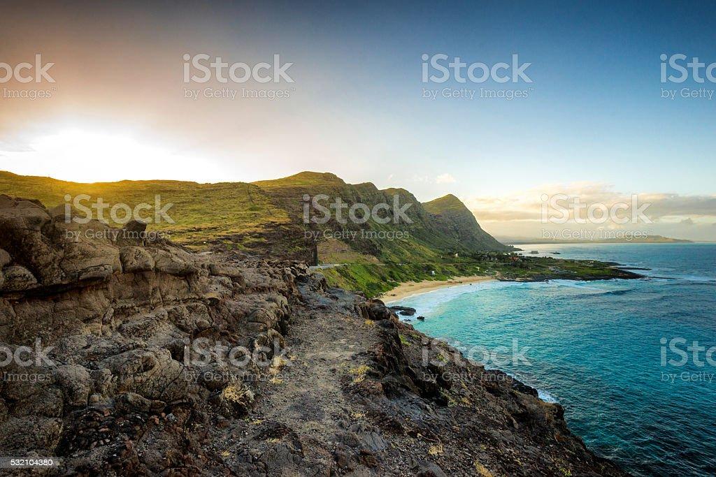 Part of Oahu south shore stock photo