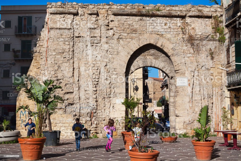 Part of old city wall in Palermo stock photo
