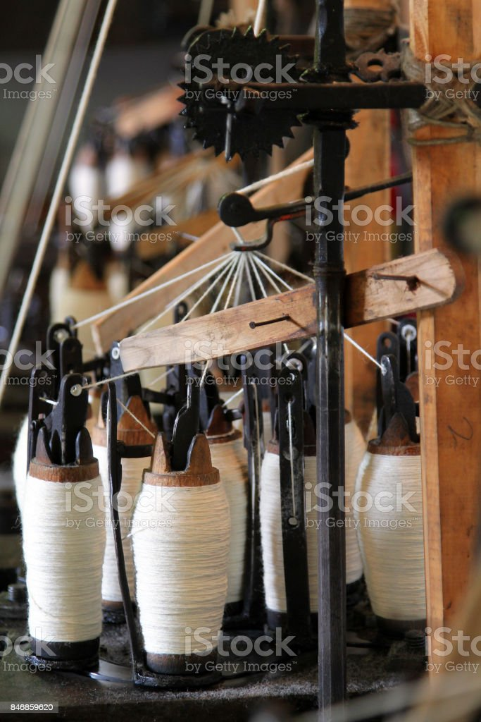 Part of old loom, Etar, Bulgaria stock photo