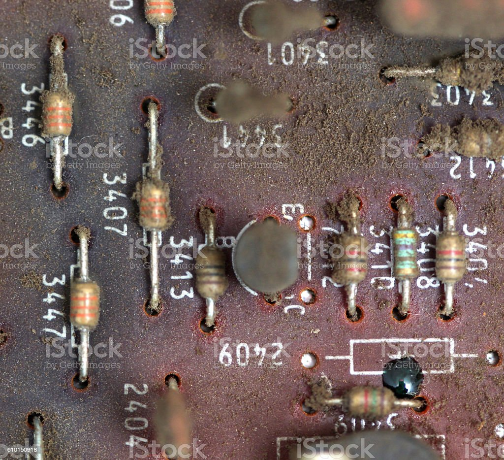 Part Of Old Vintage Printed Circuit Board Stock Photo More Picture Royalty Free
