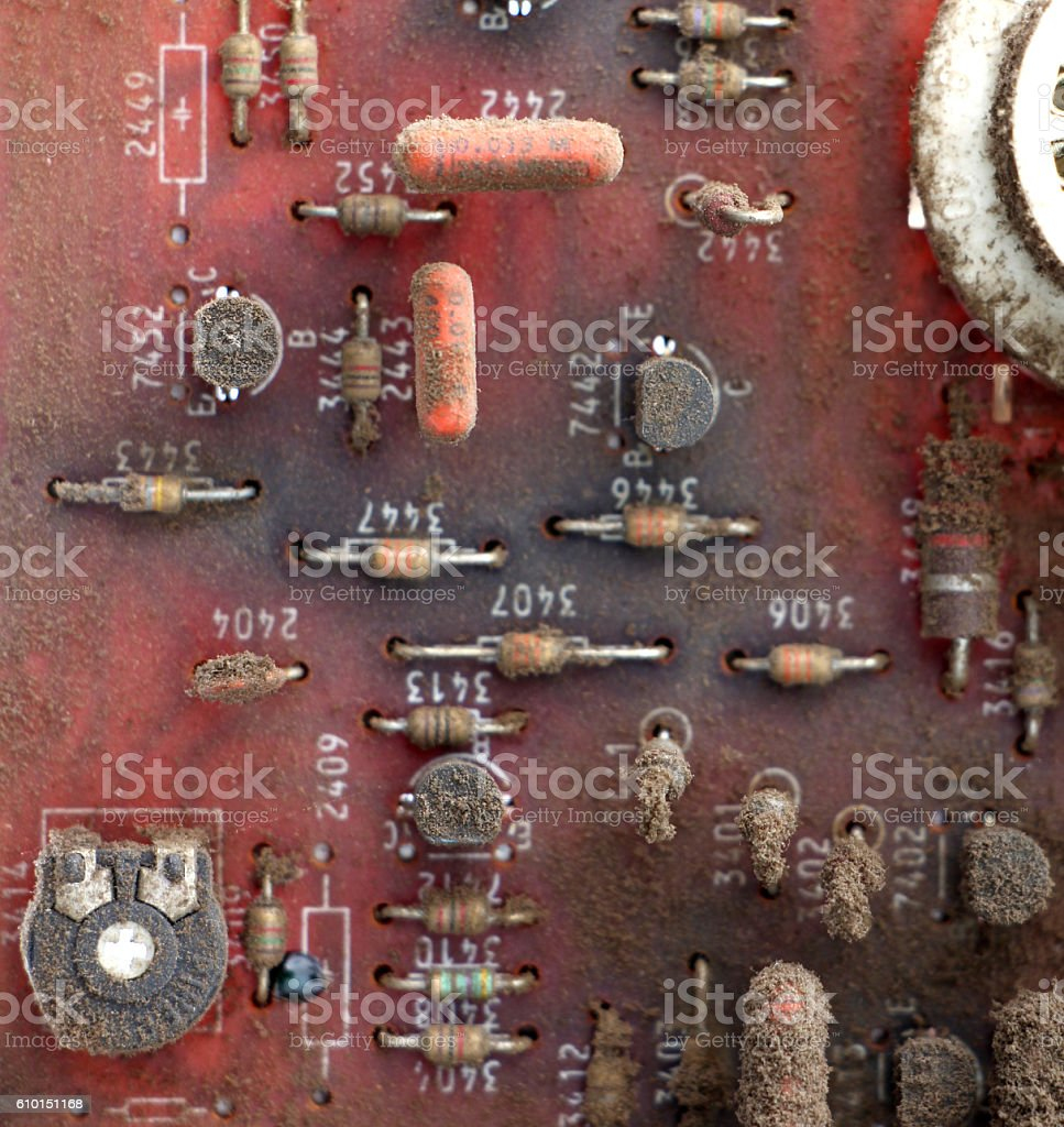 Part Of Old Vintage Printed Circuit Board Stock Photo More Close Up Ceramic Capacitors On Image Royalty Free