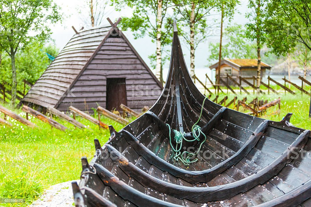 Part of old wooden viking boat in norwegian nature stock photo