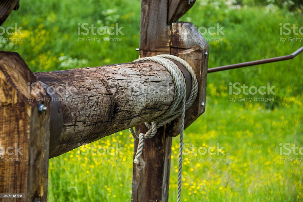 part of old-fashioned oil pump stock photo