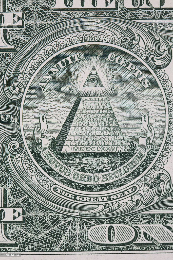 Part of one dollar note with great seal macro stock photo