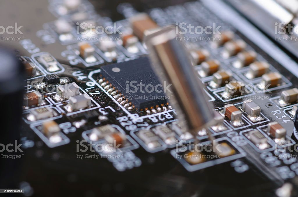Part of PC electronic circuit board. stock photo