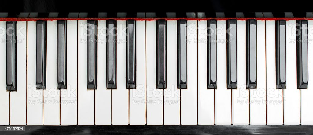 Part of piano keys. Top view. stock photo