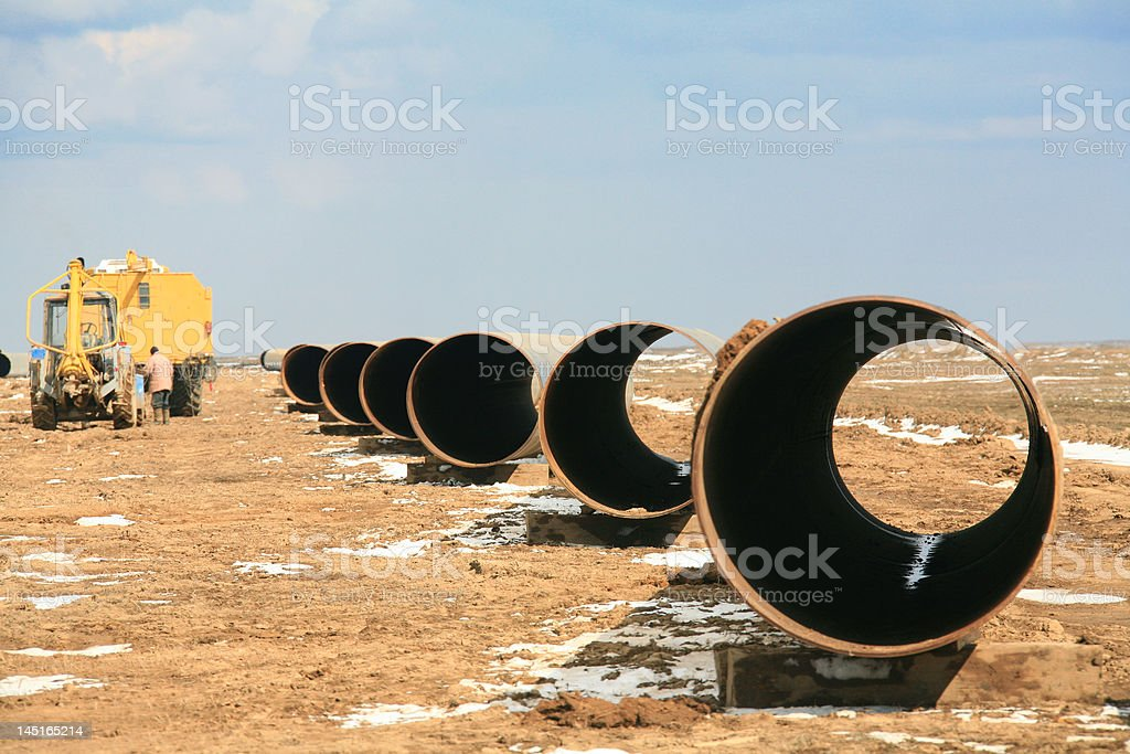 Part of pipe oil in steppe Kazakhstan royalty-free stock photo