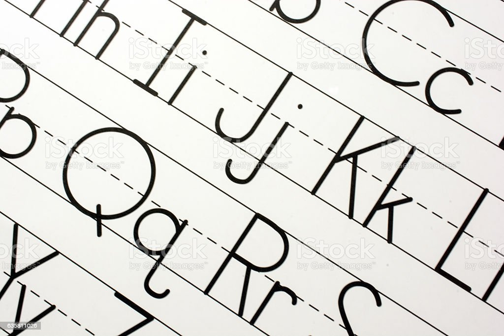 Part of printed alphabet in upper and lower case, close-up stock photo