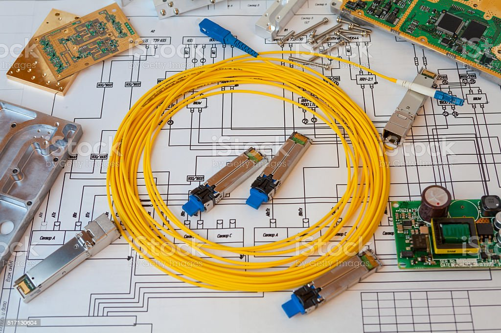 Part of project of communication equipment  and yellow optical cable stock photo