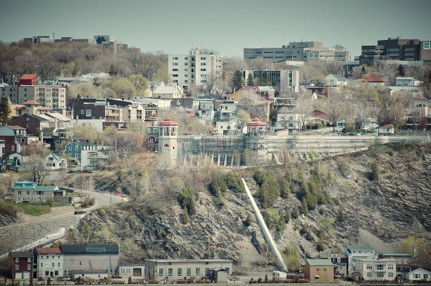 Part of Quebec City seen from below. stock photo