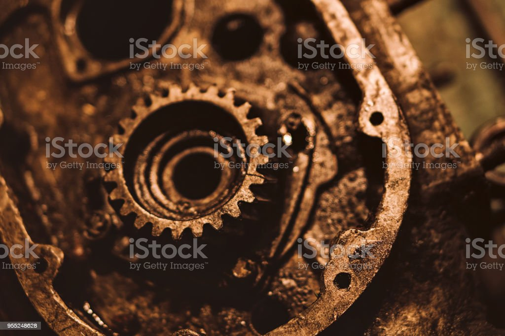 Old rusty engine. Gear close up. Disassembly of the engine for spare...
