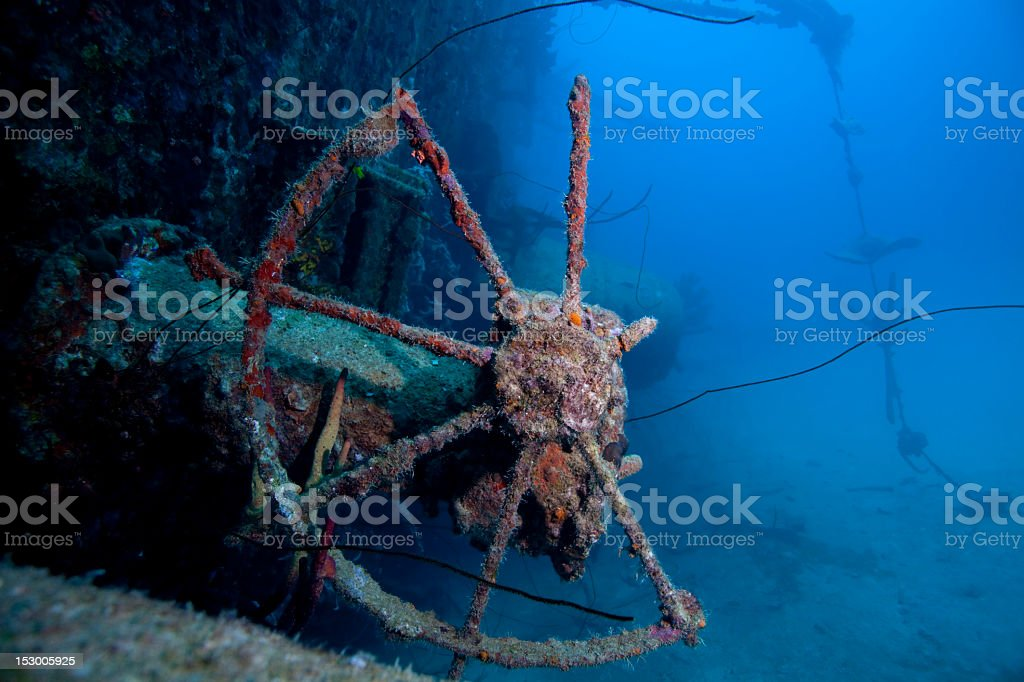 Part of shipwreck parts under water stock photo