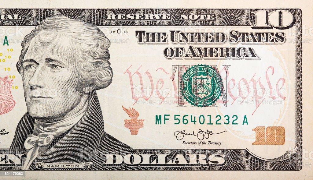Part Of Ten Dollar Bill American Money Stock Photo