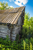 istock Part of the abandoned wooden hut 584221122